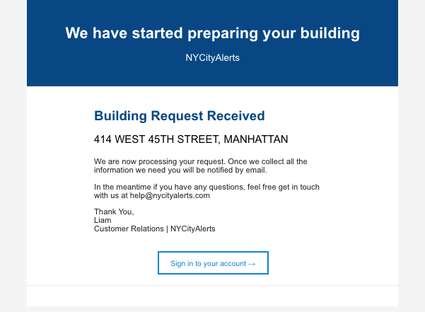 Email - We have started preparing your building