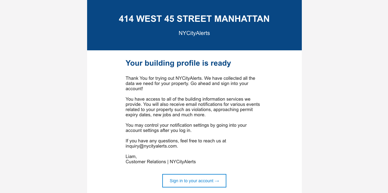 Email - Your building profile is ready